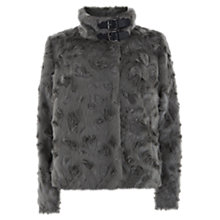 Buy Mint Velvet Teddy Faux Fur Jacket, Grey Online at johnlewis.com