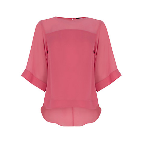 Buy Warehouse Dip Back Boxy Tee, Light Pink Online at johnlewis.com