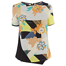 Buy Warehouse 80s Floral Asymmetric Tee, Multi Online at johnlewis.com