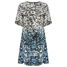 Buy Warehouse Border Texture Shift Dress, Blue Online at johnlewis.com