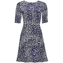 Buy Jaeger Spot Flare Dress, Navy / Ivory Online at johnlewis.com