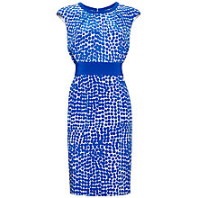 Buy Jaeger Abstract Spot Print Skirt Silk Dress, True Blue / Ivory Online at johnlewis.com