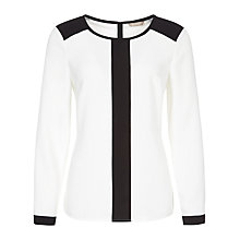 Buy Planet Contrast Blouse, Black/Ivory Online at johnlewis.com