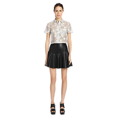 Buy Warehouse Faux Leather Skirt, Black Online at johnlewis.com