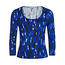 Buy Precis Petite Brushstroke Print Top, Multi Dark Online at johnlewis.com