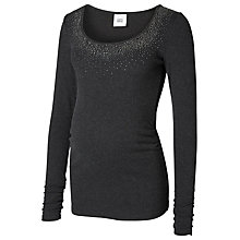Buy Mamalicious Hailey Long Sleeved Maternity Simili Stone Jersey Top, Black Online at johnlewis.com