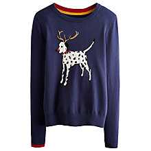 Buy Joules Festive Dog Jumper, French Navy Online at johnlewis.com
