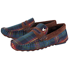 Buy Lyle & Scott Tartan Moccasin Slippers, Blue/Green Online at johnlewis.com