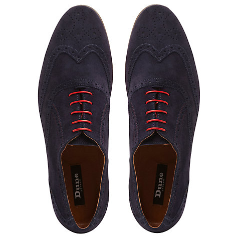 Buy Dune Rayman Wingtip Suede Brogues, Navy Online at johnlewis.com