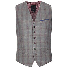 Buy Ted Baker Pywast Check Wool Wasitcoat, Purple Online at johnlewis.com