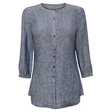 Buy East Cross Dye Pintuck Yoke Linen Shirt, Indigo Online at johnlewis.com