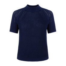 Buy Jigsaw Short Sleeved Wool Blend Waffle Jumper, Marine Online at johnlewis.com