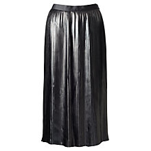 Buy Jigsaw Pleated Coated Skirt, Black Online at johnlewis.com