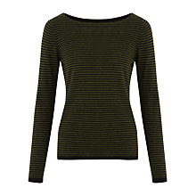 Buy Jigsaw Striped Boat Neck Jumper, Green Online at johnlewis.com