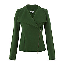 Buy Jigsaw Knitted Double Zip Biker, Bright Green Online at johnlewis.com