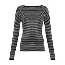 Buy Jigsaw Stripe Boat Neck Sweater, Grey Online at johnlewis.com