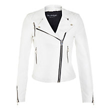 Buy Miss Selfridge Faux Leather Biker Jacket, White Online at johnlewis.com