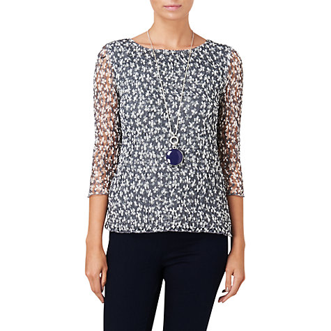 Buy Phase Eight Madeline Mesh Top, Grey / Ivory Online at johnlewis.com