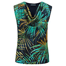 Buy Viyella Leaf Print Crepe Top, Lagoon Online at johnlewis.com