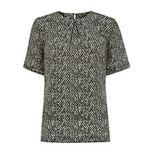 Buy Hobbs Tweed Print Silk Top, Black/Ivory Online at johnlewis.com
