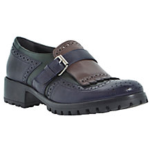 Buy Bertie Lordes Leather Low Heeled Buckled Brogues, Blue Online at johnlewis.com