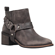 Buy KG by Kurt Geiger Sienna Leather Block Heel Buckle Ankle Boots, Grey Online at johnlewis.com