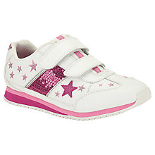 Buy Clarks Children's Super Glitz Trainers, White/Pink Online at johnlewis.com