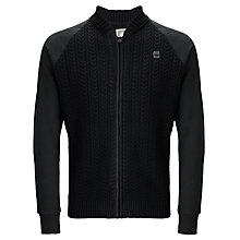 Buy G-Star Contrast Cable Knit Zip-Up Bomber, Black Online at johnlewis.com