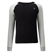 Buy G-Star Contrast Cable Knit Panel Jumper, Grey Heather Online at johnlewis.com