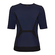 Buy Jaeger Compact Jersey Top, Black / Navy Online at johnlewis.com