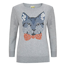 Buy Hobbs Stanley Cat Jumper, Grey Melange Online at johnlewis.com