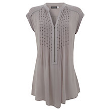 Buy Mint Velvet Square Bead Pintuck Tunic Dress, Purple Online at johnlewis.com