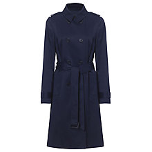 Buy Jaeger Leather Trim Trench Coat, Navy Online at johnlewis.com