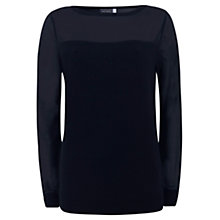 Buy Mint Velvet Sheer Sleeve Knit, Blue Online at johnlewis.com