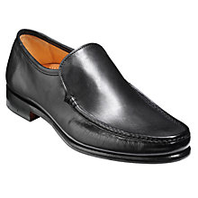 Buy Barker Torquay Leather Moccasin Shoes, Black Online at johnlewis.com