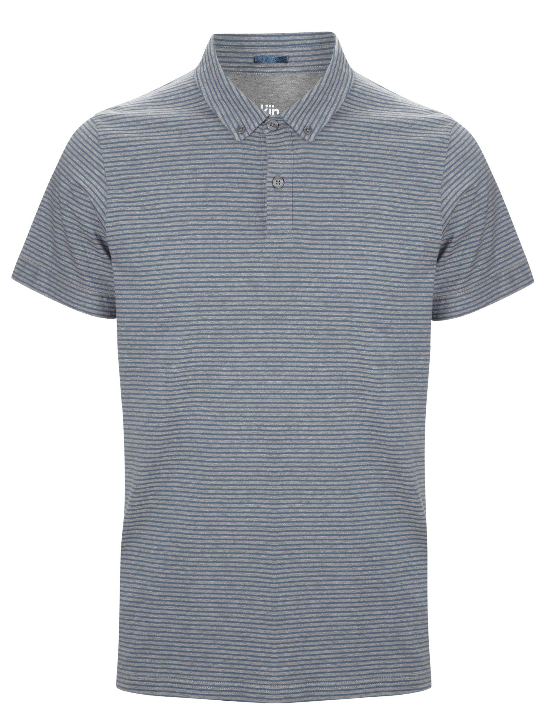 Kin by John Lewis Jersey Stripe Polo Shirt, Navy