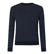 Buy John Lewis Polka Dot Crew Neck Jumper, Navy Online at johnlewis.com