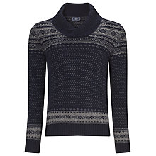 Buy John Lewis Two Tone Jacquard Shawl Jumper, Navy Online at johnlewis.com