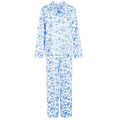 John Lewis Brigitte Floral Pyjama Set, White / Blue