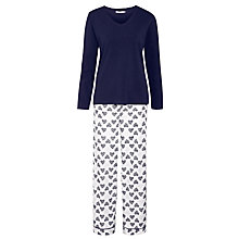 Buy John Lewis Heart Print Pyjama Set, Navy / Ivory Online at johnlewis.com