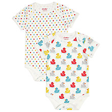 Buy Cath Kidston Rubber Duck Bodysuit, Pack of 2, Cream Online at johnlewis.com