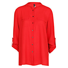 Buy Mango Mao Collar Flowy Blouse, Bright Red Online at johnlewis.com