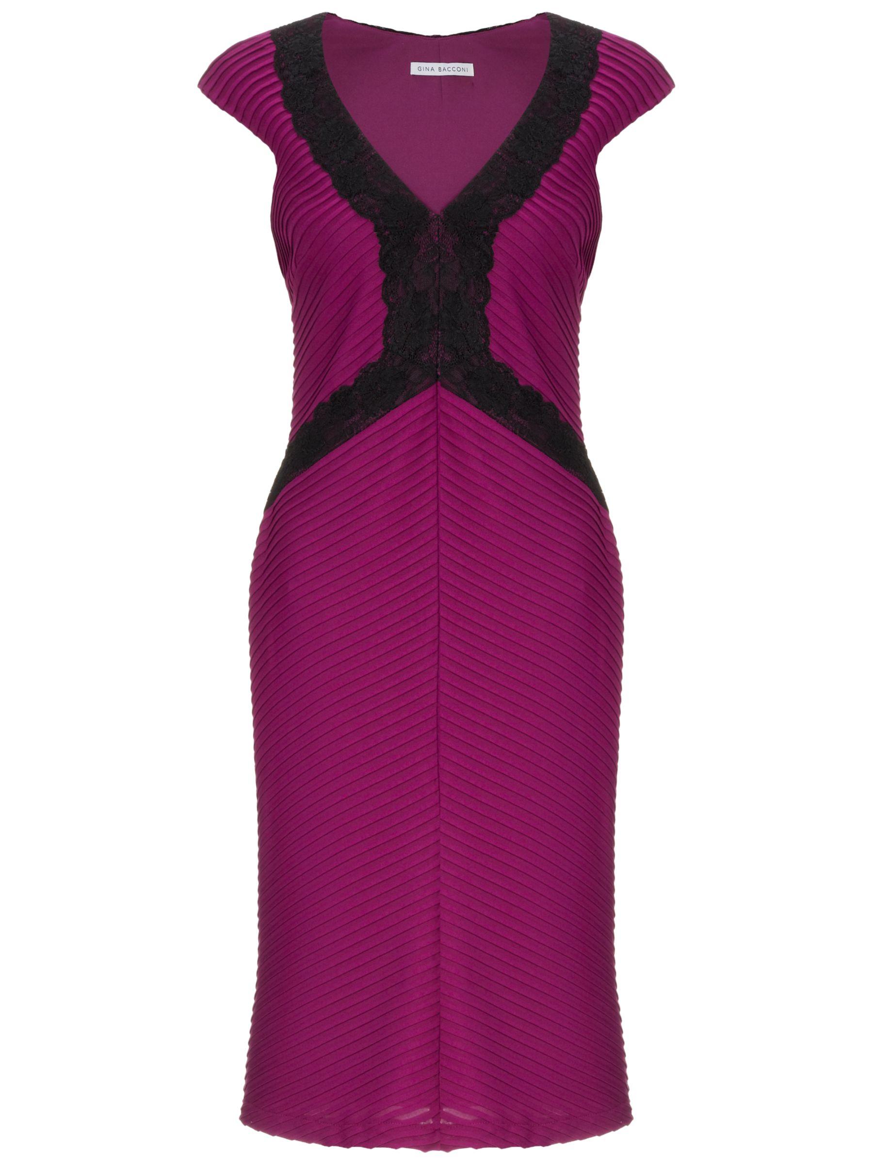 Gina Bacconi Pin Tuck Jersey Dress, Mulberry