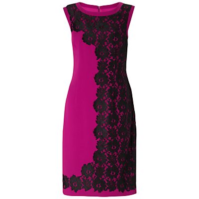 Gina Bacconi Crepe Lace Detail Dress, Jazzberry