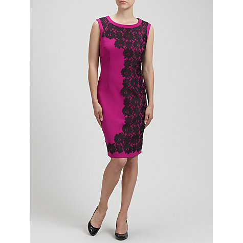 Buy Gina Bacconi Crepe Lace Detail Dress, Jazzberry Online at johnlewis.com