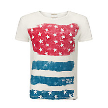Buy Hilfiger Denim USA Flag Print T-Shirt, Marshmallow Online at johnlewis.com