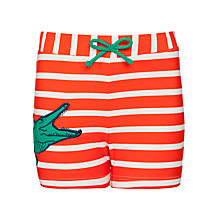 Buy John Lewis Boy Striped Crocodile Trunks, Orange/White Online at johnlewis.com