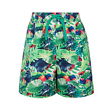 Buy John Lewis Boy Gorilla and Bird Print Board Shorts, Green/Multi Online at johnlewis.com