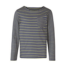 Buy Kin by John Lewis Boy Long Sleeve Striped T-Shirt, Navy/Yellow Online at johnlewis.com