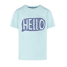 Buy Kin by John Lewis Boys' Hello T-Shirt, Light Blue Online at johnlewis.com